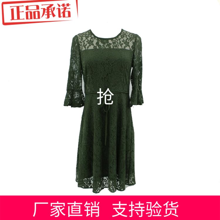 2018初春新款女装荷叶袖小清新淑女蕾丝连衣裙珂曼莎KM-17Q3006