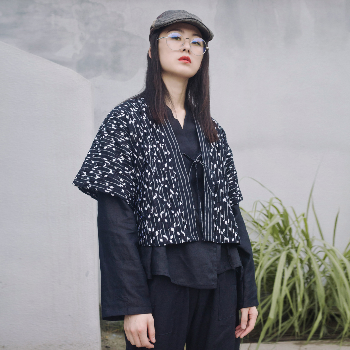 原创开衫女复古宽松防晒开襟系带汉服设计短款夹克中袖小外套潮