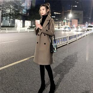 2019冬装修身显瘦加厚毛呢外套赫本风妮子小个子呢子大衣女中长款