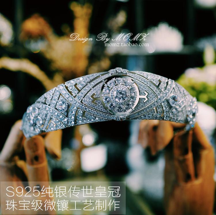 魔猫昭昭S925纯银欧式女王公主梅根王妃同款皇冠头饰奢华新娘王冠