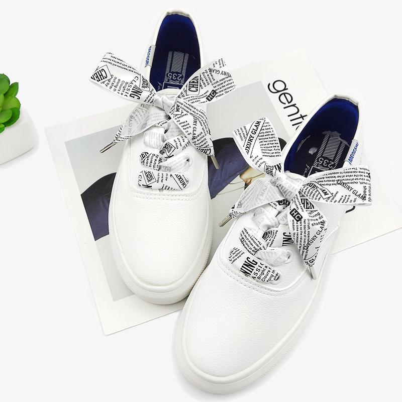 2.5cm宽单面印字母绸缎带扁宽鞋带 韩版百搭个性休闲鞋带女印字
