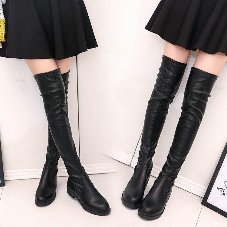 加棉靴子女2018秋冬季新款欧美套筒粗跟女鞋过膝长靴外贸厂家直销