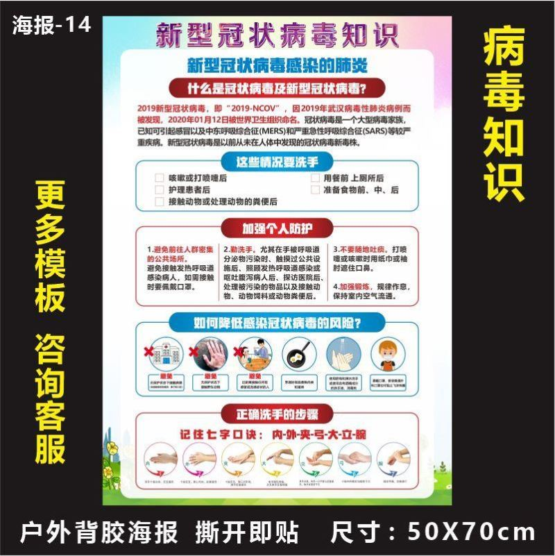Anti epidemic propaganda poster pasted with beauty salon nursery anti epidemic of health knowledge in the office of hotel organization and school