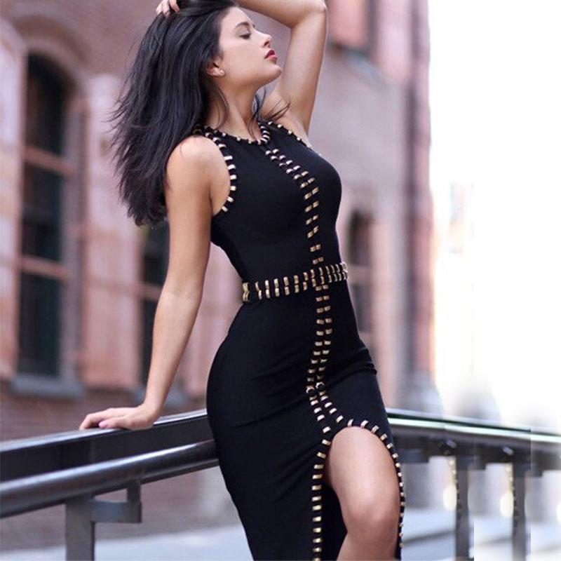2018夏新款欧美时尚无袖圆领金属扣修身性感前开叉晚装绷带连衣裙