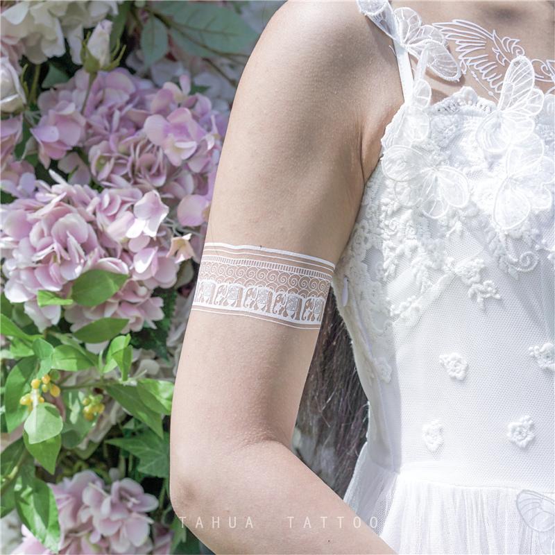 热销17件限时2件3折她画白色梦幻手环纹身贴 女海防水持久手腕娜纹身膏一圈腿环臂环