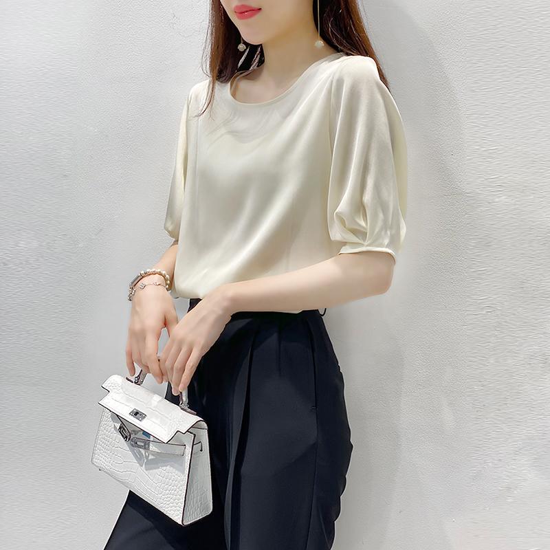 米白色高端重磅女设计感夏装衬衫