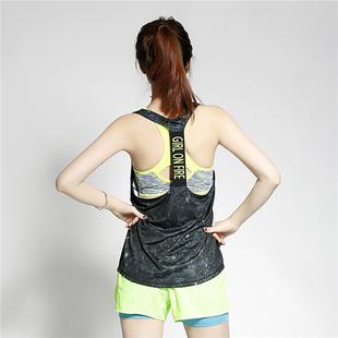涤纶黑色星空女子健身房运动动感单车排汗轻薄速干大露背背心罩衫
