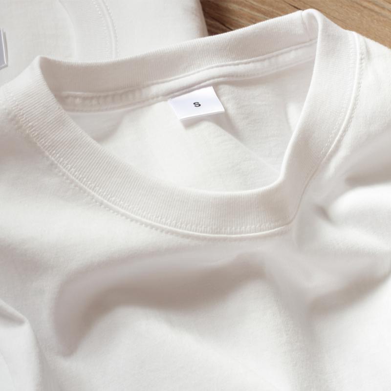 (买一送一)230g日本重磅纯棉圆领T恤纯白厚实不透打底男女体恤
