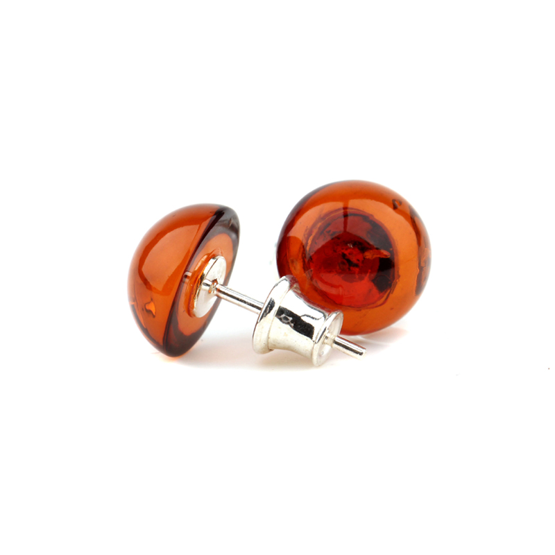 Huajia. Genuine 925 sterling silver jewelry, old silversmith earrings, womens natural amber honey wax blood Pearl Earrings
