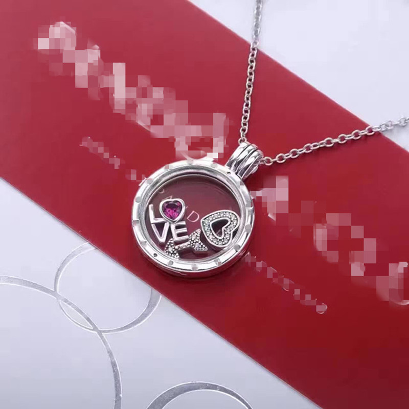 S925 pure silver Pans versatile sweater, collarbone necklace, simple glass pendant, creative gift to girlfriend floating box