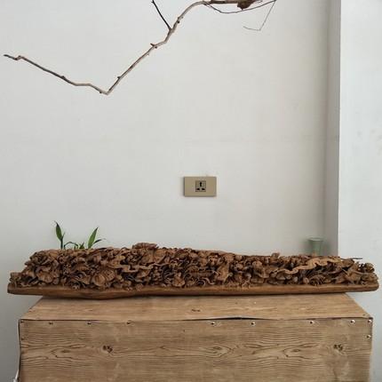 沉香木雕花鸟摆件 原木雕荷花高档工艺品家居装饰 高档收藏礼品