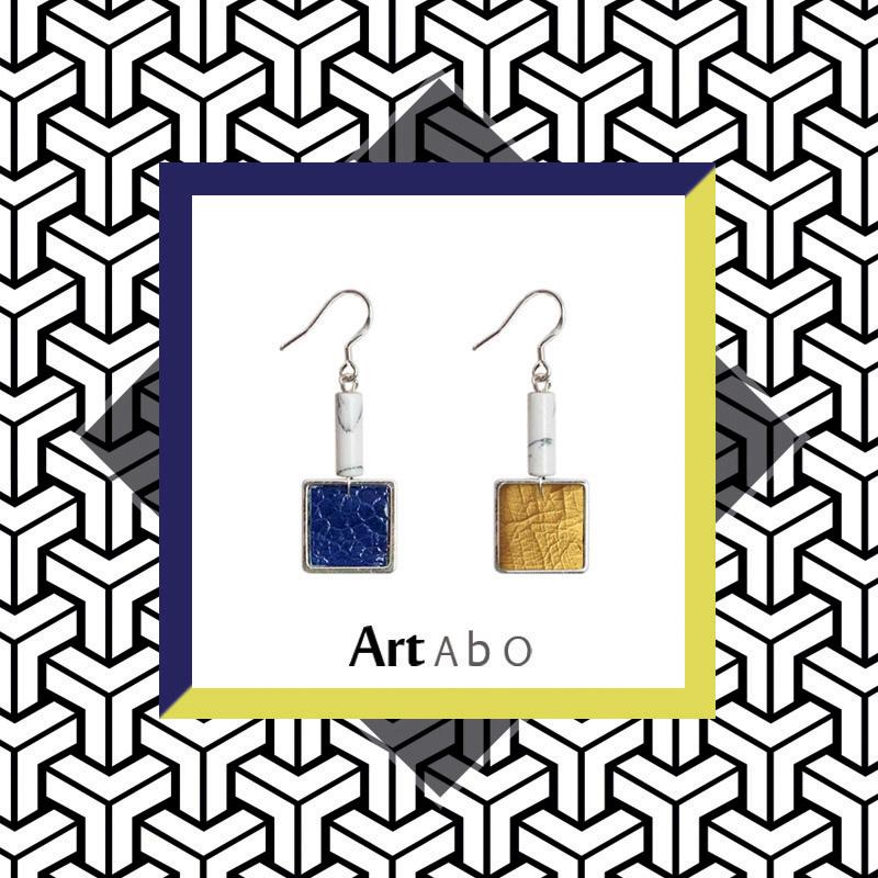 蓝黄绿】ArtAbO原创设计纯手工风格耳环真皮珍珠几何高街小众腔调