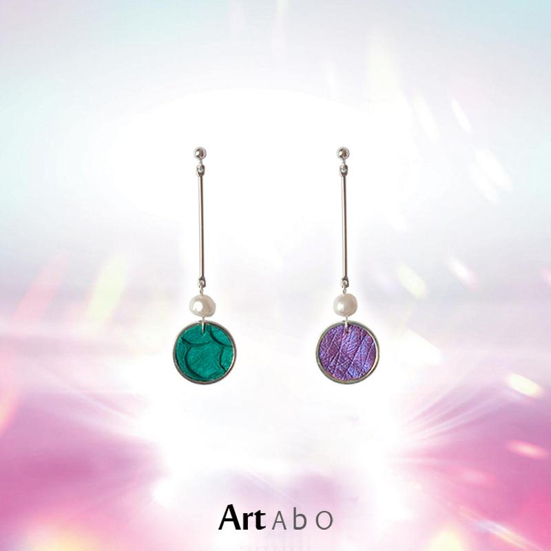 炫彩】ArtAbO原创设计纯手工耳环真皮珍珠几何风格高街小众腔调