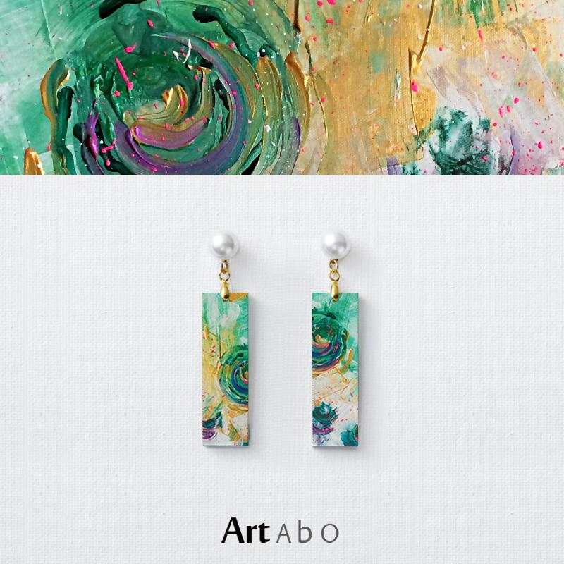绿圆】ArtAbO原画艺术抽象油画耳饰原创风格耳环高街几何特色腔调