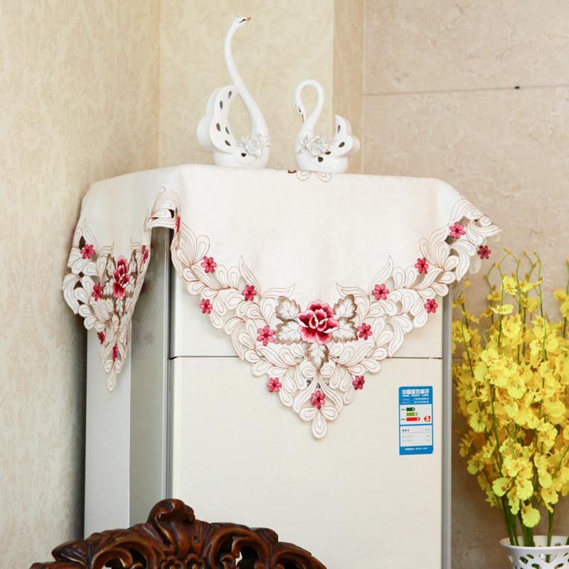 布艺绣花空调罩柜式立式防尘柜机罩圆柱形欧式开机不取盖布盖巾