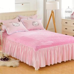 加厚保暖纯色水晶绒法莱绒珊瑚绒床裙床罩单件床单床笠1.5/1.8m
