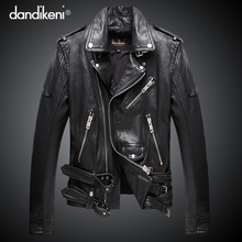 Haining leather jacket motorcycle leather leather men's short sheep skin Slim Korean version of the handsome Harley youth jacket tide