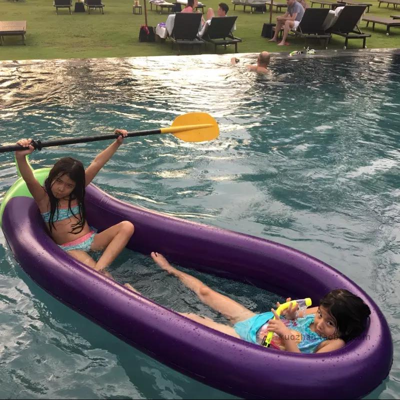 Негабаритный 270CM для взрослых ребенок водный дрейф газированный баклажан плавающий поплавок кровать сетка ткань дрейф поплавок судно водный шезлонг