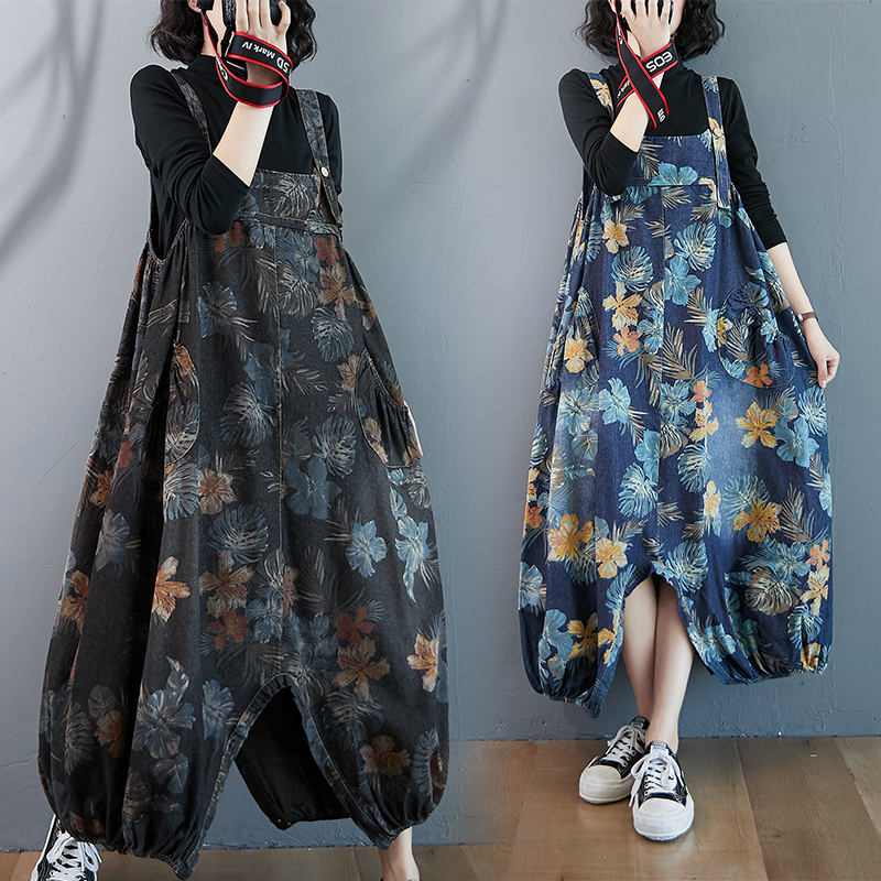 Real 8558 ? autumn and winter 2020 fat mm retro printed all cotton denim suspenders womens loose crotch skirt