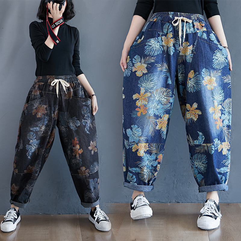 Real shot 8512 ? retro printed harem jeans for women