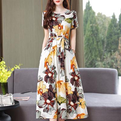 高贵棉麻连衣裙女中长款夏季2021新款短袖年轻妈妈棉绸气质长裙子