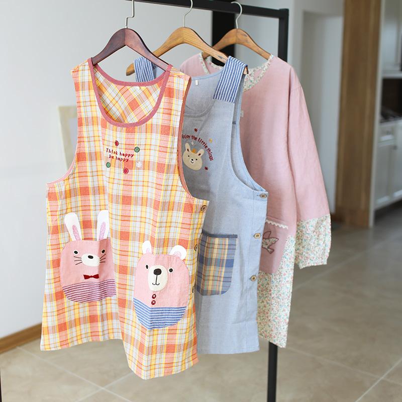 日本单围裙无袖背心裙式厨房防油污罩衣女士家用日系做饭衣可爱