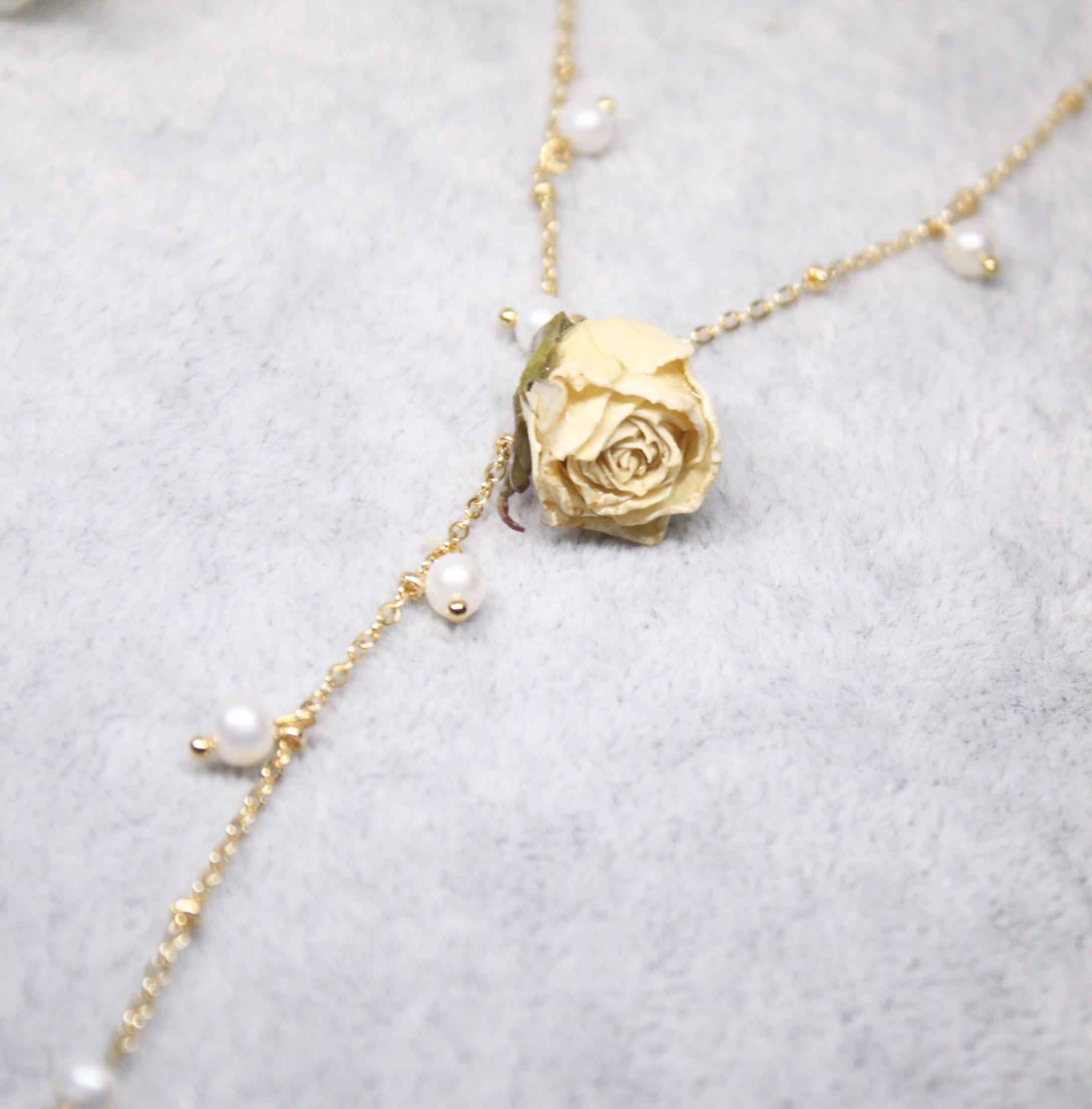 法式珍珠玫瑰花小众设计vintage项链女仙气网红配饰复古Y型锁骨链