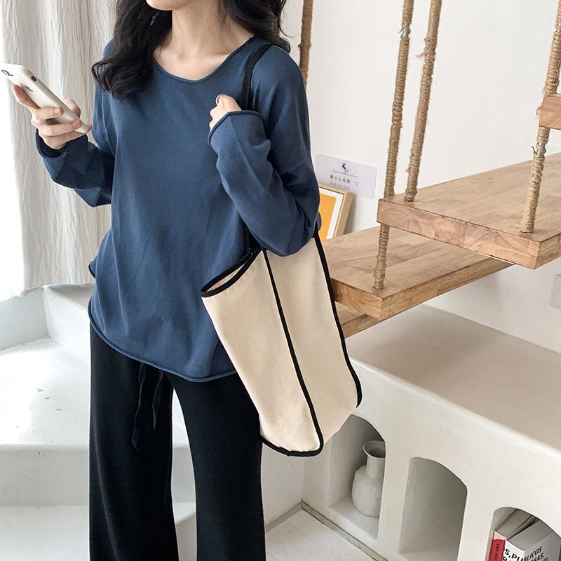yesroom19秋季新款韩版简约宽松显瘦圆领薄款蝙蝠袖针织衫打底衫