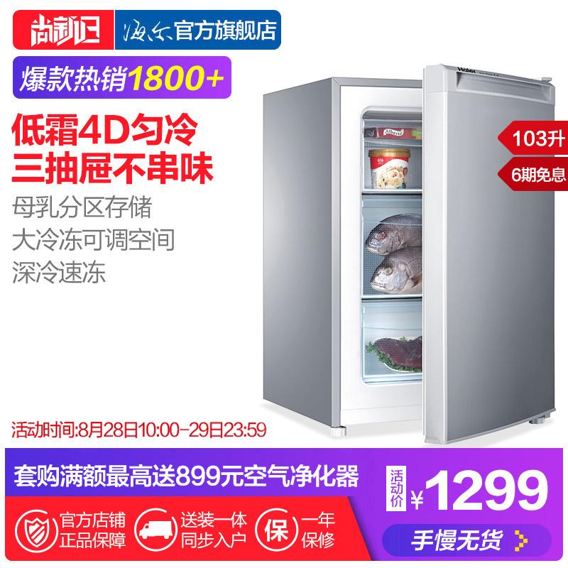 升家用小型抽屉冰柜立式母婴母乳冷冻柜103DL103BD海尔Haier