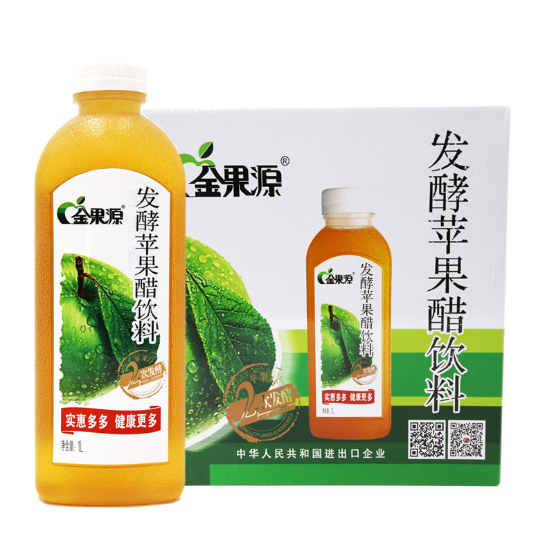 (package mail) jinguoyuan apple vinegar drink 1L, 6 bottles, apple juice vinegar drink, 1 box, green food