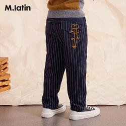 马拉丁童装男大童针织长裤2020冬季新款撞色链条绣帅气条纹休闲裤