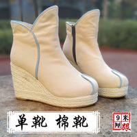 布靴女春秋女靴短靴民族风女靴汉服靴子女坡跟短靴汉服复古靴秋冬