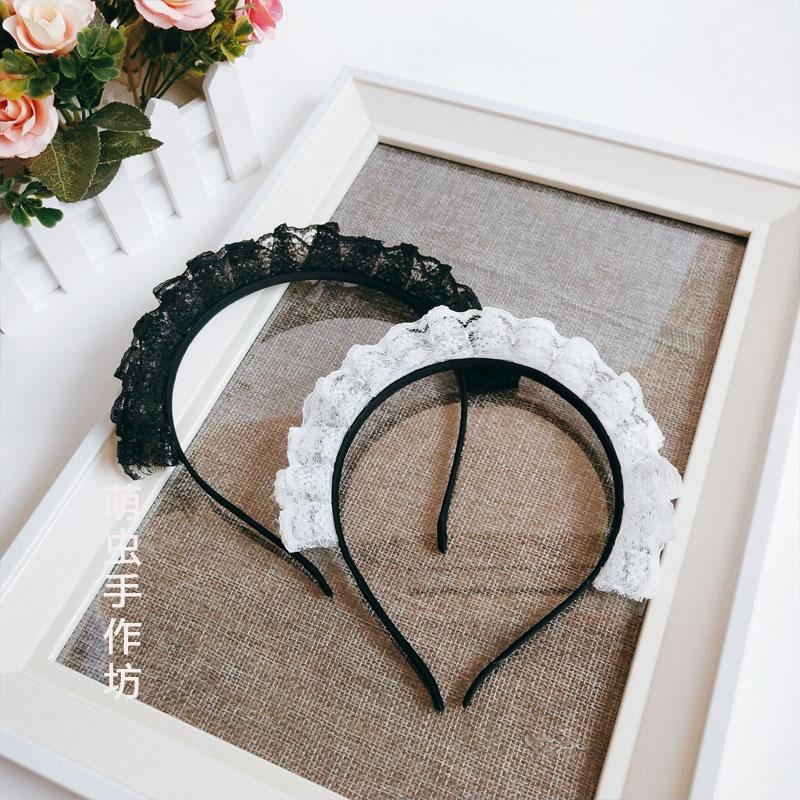 日の手はロリータメイドのカチューシャの甘いレースの髪飾りlolitaを作ります。