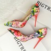 Han edition style high heel with flowers sweet color shallow pointed mouth side hollow out broken shoes design