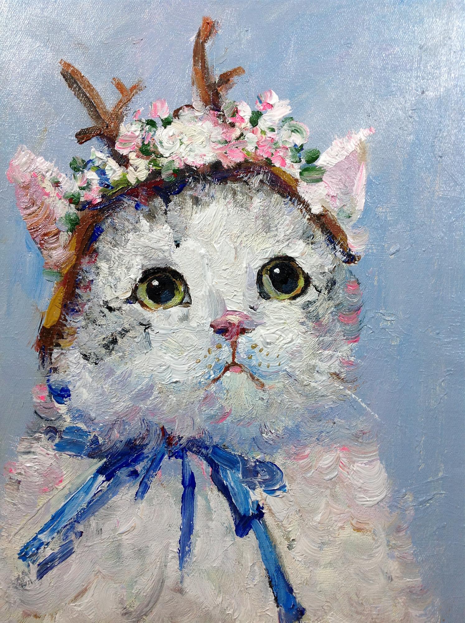 貓咪店長作品包郵收藏純手繪油畫原創動物油畫花貓系列玄關掛畫