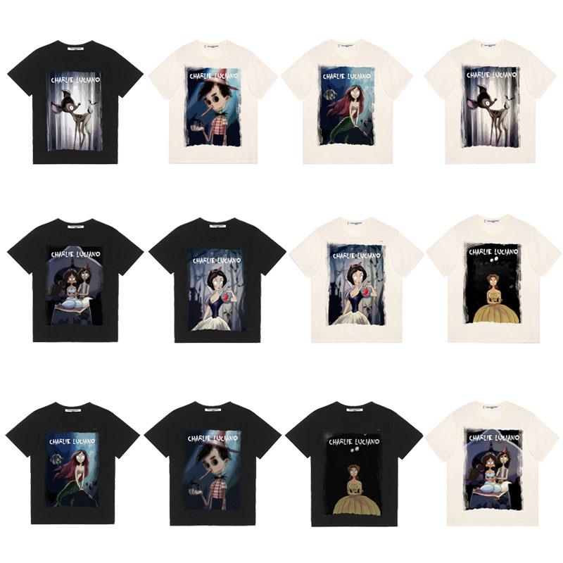 Date19美潮 Charlie Luciano 19SS 白雪公主美人鱼插画短袖T恤