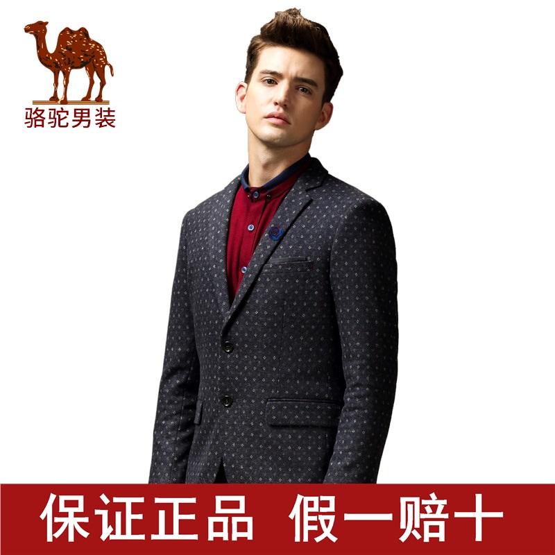 骆驼男装冬季修身外套青年韩版青春活力男士平绒西服D5K185131X