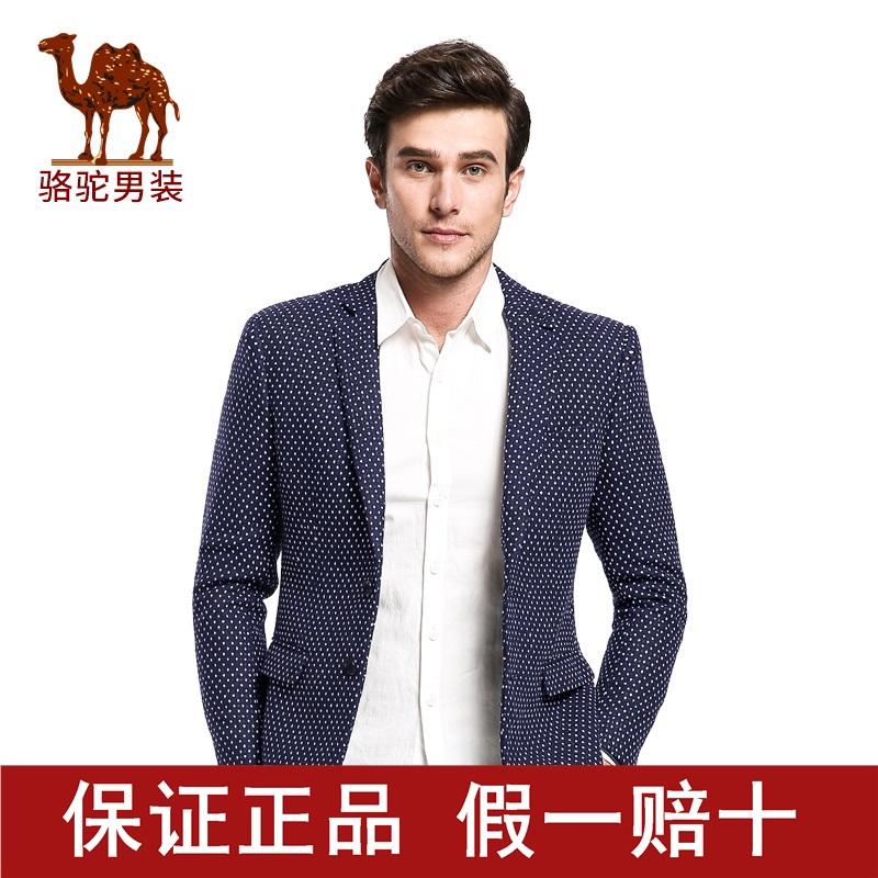 骆驼男装冬季修身外套上班韩版青年男士小清新西服D5K142077X