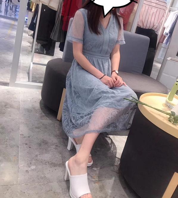 飘伊芙丽影子韩版短袖中长款连衣裙168.00元包邮