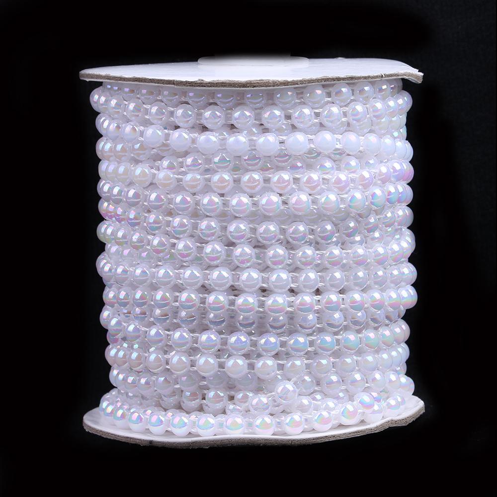Новые DIY полу жемчужиной цепи бисер белый белый AB 6 мм AB м 25 м длиной 1 тома