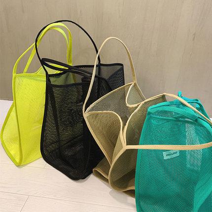 2020新款ins风超火单肩包透明网纱大容量挎包时尚轻便百搭购物袋