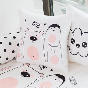 北歐INS手繪畫系列卡通糖果方形抱枕靠墊靠枕腰枕辦公室兒童