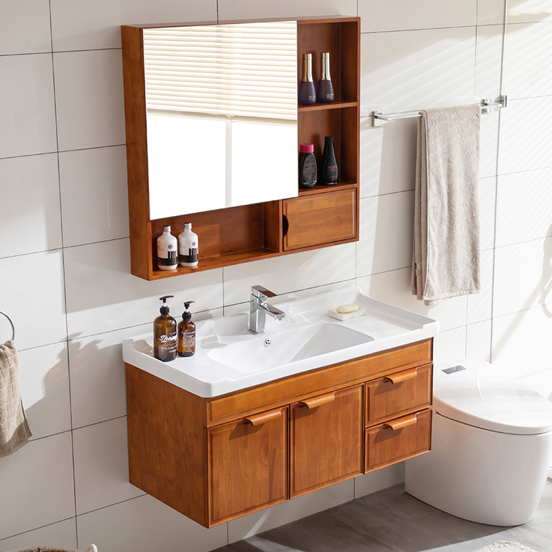 热销0件限时秒杀橡木浴室柜组合实木卫生间吊柜洗脸盆柜洗手洗面盆洗漱台现代镜柜