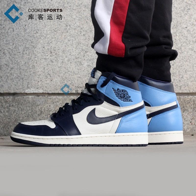 库客 Air Jordan 1 OG AJ1黑曜石北卡蓝黑蓝脚趾篮球鞋555088-140图片