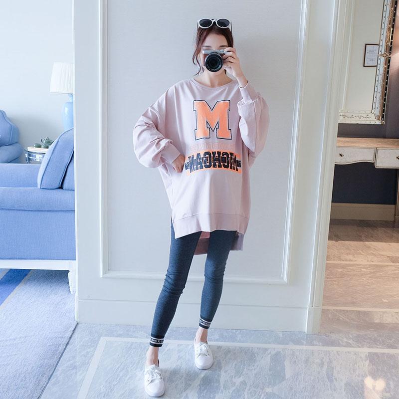 Беременная женщина загружены наряд 2017 новый большой код длинная модель рукавов корейский случайный свободный письмо свитер пальто