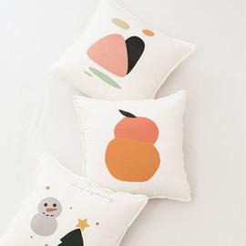 韩式可爱小桔/橘子绒面靠垫套 清新卡通手绘插画沙发卧室抱枕含