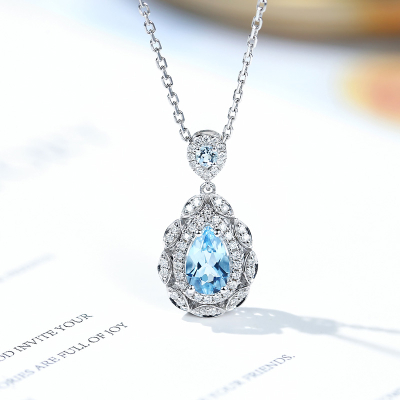 18K gold au750 real gold natural Aquamarine pendant diamond necklace clavicle chain pendant exquisite Jiacai