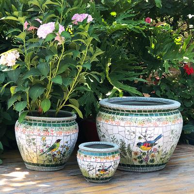 玫瑰小镇 田园落地陶瓷大口径老桩花盆高端美式乡村庭院花园摆件
