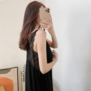 带胸垫性感睡裙女式莫代尔吊带裙