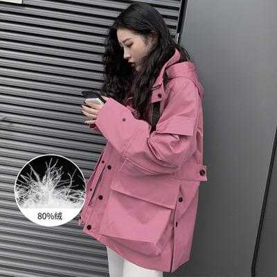 2019冬季新款网红派克情侣军工装羽绒服女中长款外套可拆卸内胆潮